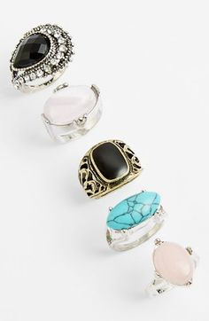 Topshop Stone Rings (Set of 5)