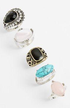 Topshop Stone Rings (Set of 5)
