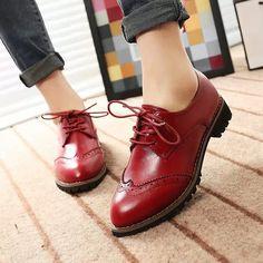 Весна и осень винтажный британский стиль женщины оксфорды обувь женщины в квартиры пятки свободного покроя кожа обувь женщины сапоги # 1688