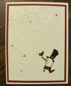 Lynn's cute card uses Snow Much Fun, Northern Flurry & Designer Frames embossing folder.