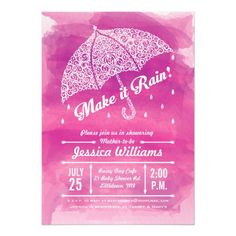Make it Rain Watercolor Shower Invitation Pink – Raindrops, clouds, and lightening bolts decorate this lacy umbrella on a watercolor background. Great for Bridal Showers or Baby Showers. Baby Shower Invitation Cards, Pink Invitations, Jessica Williams, Make It Rain, Watercolor Background, White Envelopes, Rsvp, Bridal Showers, Baby Showers