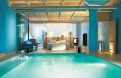 indoor pool in the bedroom. dont know if id want it...but maybe in my vacation home.