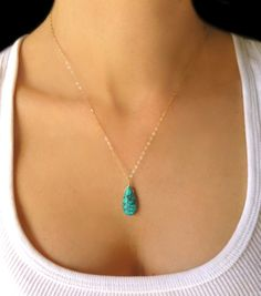 Turquoise Necklace Genuine Turquoise Jewelry by GlassPalaceArts