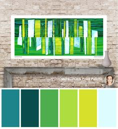 A beautiful green and blue colour palette created from the original art by Jane Monteith.