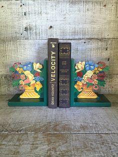 Bookends Floral Bookends Folk Art Bookends Handmade Wood Bookends Vintage Flower…