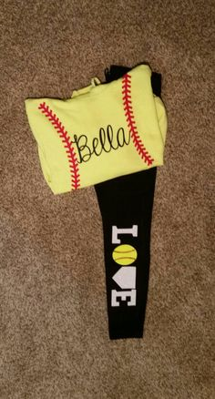 Customized Softball Hoodie and Leggins (with name, and LOVE on the pants) by TwoWivesCreations on Etsy https://www.etsy.com/listing/259770037/customized-softball-hoodie-and-leggins