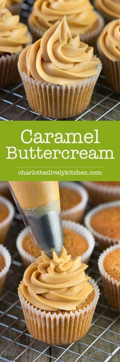 Caramel Buttercream Recipe: Easy to make delicious caramel buttercream in just a few minutes. Perfect for topping cupcakes, layer cakes or special celebration cakes. Caramel Buttercream, Buttercream Recipe, Frosting Recipes, Cupcake Recipes, Baking Recipes, Cupcake Cakes, Baking Cupcakes, Kitchen Recipes, Buttercream Cupcakes