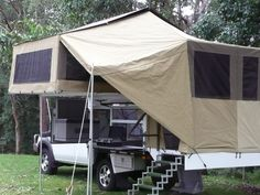Slide on camper ventilation with awning over stairs