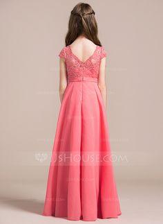 A-Line/Princess V-neck Floor-Length Zipper Up Sleeves Short Sleeves No Watermelon General Chiffon Lace Junior Bridesmaid Dress
