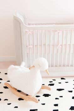 Pink and Gold Glam Swan-Inspired Nursery Baby Nursery Bedding, Girl Nursery, Grown Up Bedroom, Girls Bedroom, Bedrooms, Baby Couch, Princess Nursery, Yellow Nursery, Nursery Themes