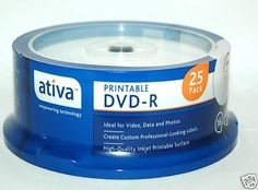 AtivaTM Inkjet-Printable DVD-R Recordable Media Spindle, 4.7GB/120 Minutes, Pack Of 25 by Ativa. $10.89. * Ativa inkjet-printable DVD-R media can be labeled with your own graphics and style using direct-disc inkjet printers. No need to buy labels!  * 4.7GB storage - more than 6 times the storage capacity of a CD.  * Great for video, photo, audio or data storage.  * Durable write-once format with long archival life.  * Write-compatible with DVD drives and recorders supporting DVD...