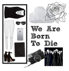 """""""We Are Born To Die"""" by life-is-trippy ❤ liked on Polyvore featuring Miss Selfridge, River Island, Gianvito Rossi and Valextra"""