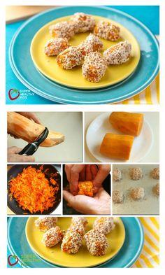Sweet Potato Tots Recipe - More vitamins than tater tots- SWEET POTATO TOTS! http://www.superhealthykids.com/sweet-potato-tots/
