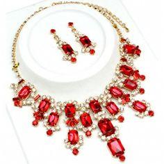 cascading emerald shape red crystal necklace set