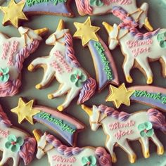 Unicorn thank you cookies.