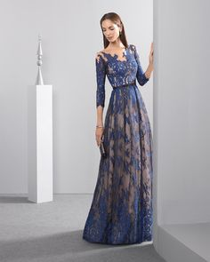 Rosa Clara 2017 Cocktail Collection - Hong Kong - An elegant evening dress with delicate lace embroidery in blue and nude underlay for contrasting effect.