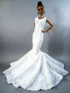 Wedding Bride Evening Silkstone Barbie Fashion Royalty Dress Outfit Gown Lace Fr | eBay