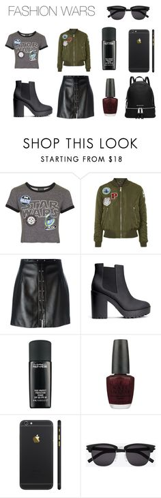 FASHION WARS by keola-roman on Polyvore featuring Topshop, Magda Butrym, H&M, MICHAEL Michael Kors, Yves Saint Laurent, MAC Cosmetics, OPI, Leather, Boots and bomberjacket