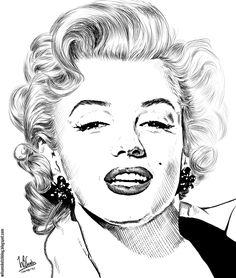 Ink drawing of Marilyn Monroe