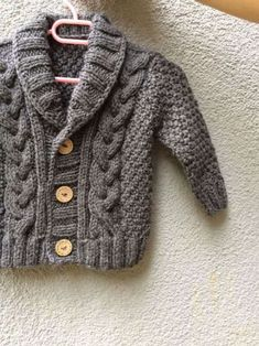 Punto suéter del algodón orgánico bebé gris, mano de punto gris Baby Cardigan…:
