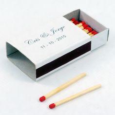"Cajas de cerillas para bodas modelo ""Standard"". Boda de Cris & Jorge. Container, Model, Match Boxes, Natural Wood, Adhesive, Weddings, Colors"