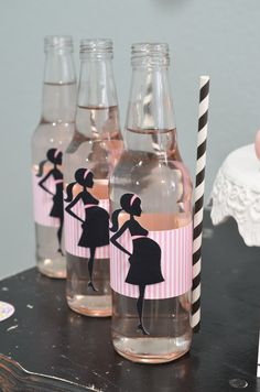 Ready To Pop Baby Shower Pink Soda POP with silhouette mommy and straw