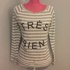 Pim + Larkin Striped 'TRÈS BIEN' Sweatshirt Medium White & grey striped. Black graphics. Medium. Pim + Larkin Tops Sweatshirts & Hoodies