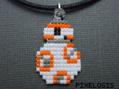 BB-8 Necklace Seed Bead Star Wars Jewelry Handmade by Pixelosis