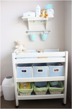 Nursery room is place with many baby stuffs. You need more storage to keep this room clean and neat. A changing table is must for baby stuffs storage. Complete it well with wire boxes, fabric boxes, or shelves will be great. Check out these ideas below; Baby Bedroom, Baby Boy Rooms, Baby Room Decor, Baby Boy Nurseries, Nursery Room, Child's Room, Modern Nurseries, Nursery Ideas, Room Baby