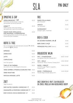 菜单 - SLA Menu Design, Brand Packaging, Food Menu, Smoothies, Avocado, Create Yourself, Bakery, Food And Drink, Restaurant