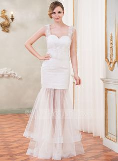 Trumpet/Mermaid Sweetheart Floor-Length Tulle Lace Wedding Dress With Ruffle Beading Flower(s) (002050419) - JJsHouse