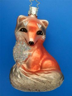 INGE GLAS RED SLY FOX GERMAN BLOWN GLASS CHRISTMAS ORNAMENT FUCHS