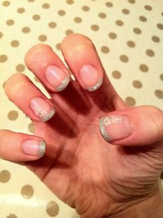 CND Shellac Nail Art - Beau with white and diamanté nail stickers and Gosh Silver glitter tips.