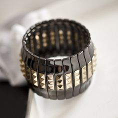 Kpop vintage  punk spikes wide elastic bangle women charm big bracelet/pulseiras wholesale/bijoux femme/pulseras/wristband