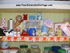 Vintage Cottage Kitchen Pink Hand Mixer Salt n Pepper Shakers Potholders Eggcups Rolling Pin POLKA DOTS OH MY!!!! POSY SHOP English Cottageware Tin Toy Iron Creamers Sugars Enamelware WOW!!!!