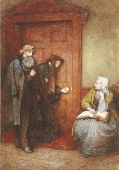 "At the sick man's door, an illustration to Thackeray's Adventures of Philip. Frederic Walker (British, 1840-1875). Pen and ink, watercolour and bodycolour. ""He found poor Mrs. Baynes with hot, tearless eyes and livid face, a wretched sentinel outside the sick-chamber. "" You will find General Baynes very ill, sir,"" she said to Philip with a ghastly calmness, and a gaze he could scarcely face… And she squeezed a dry handkerchief which she held,...and tried again to read the Bible in her lap."""