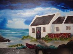 Arniston Cottages Artist Painting, Diy Painting, Painting Canvas, Bob Ross Art, Fishermans Cottage, South African Artists, Palette Knife Painting, Beach Cottages, Landscape Photography