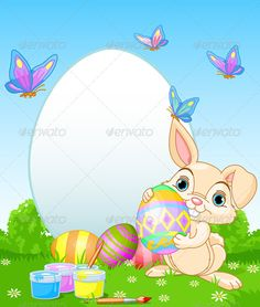 Easter Bunny painting Easter Eggs - Seasons/Holidays Conceptual