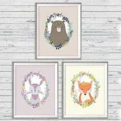 Woodland Wall Art Set of 3 Instant Download 11x14 by LlamaCreation, woodland wall art, woodland animal prints, wreath wall art, woodland nursery, fox nursery