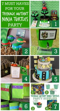 Find seven must-have ideas and party supplies for your Teenage Mutant Ninja Turtle party! See more party planning ideas at CatchMyParty.com!