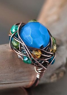 Blue cats eye Bead Copper Wire Wrapped