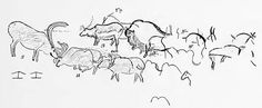 Font de Gaume Breuil drawings Plan of a portion of the left wall decoration in the Galerie des Fresques at Font-de-Gaume, showing reindeer and the procession of bison. After Breuil. Most Famous Paintings, Early Humans, Ice Age, Human Art, Bison, Prehistoric, Reindeer, Fonts, Wall Decor