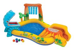 Intex Inflatable Dinosaur Pool and Play Center (078257314430) The Kids Will Love Getting Wet With This Inflatable Dinosaur Pool and Play CenterYou'll love watching the kids beat the summer heat in this Intex Inflatable Dinosaur Pool and Play Center. This is more than just a kiddie pool. From the pint-sized slide to the smiling, hungry dinosaur, your little ones will splash, laugh and enjoy their outside playtime. Their imaginations will go wild tossing brightly colored balls into the happy…