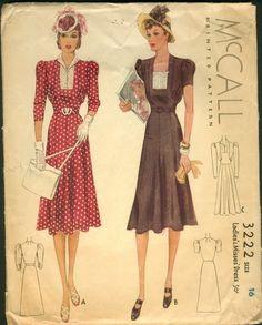 1939 - day dress pattern by McCall
