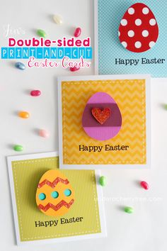 Jin's Silhouette Studio double-sided, print-and-cut Action Wobble Easter cards  | Under A Cherry Tree