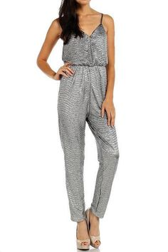 Luxe Be a Lady Jumpsuit - Silver