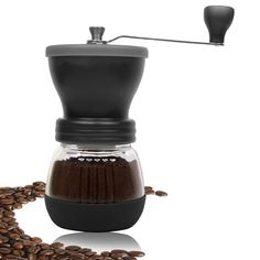 WFire Electronics Manual Coffee Grinder - High Quality Burr Coffee Grinder - Coffee Maker With Grinder For Espresso - Roasted Coffee Bean Grinder -- Click image to review more details.