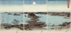 Utagawa Hiroshige  Japanese, 1797-1858, Evening View of Eight Famous Sites at Kanazawa (Buyo Kanazawa hassho yakei)