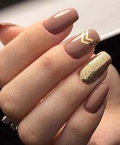 Brown and Golden Glitter Nail Art Designs 2018