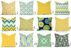 Custom Outdoor Indoor Pillow Cover sizes include - Shades of Blue Aqua Royal Yellow Daffodil Modern Geometric Tribal Floral Novelty Items, Cover Size, Pillow Forms, Custom Pillows, Outdoor Fabric, Daffodils, Decoration, Shades Of Blue, Blue Yellow